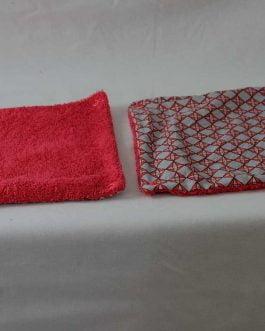 Essuie tout  carreaux gris et rouge  éponge grenadine