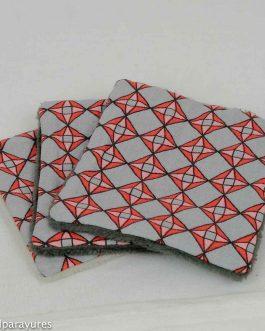 Lingettes bambou coton avec carreaux rouge et gris